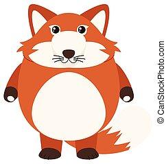 Red fox on white background illustration