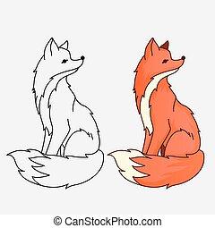 Red fox sitting illustration