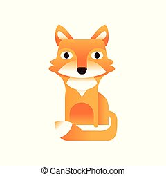 Red fox, stylized geometric animal low poly design vector Illustration