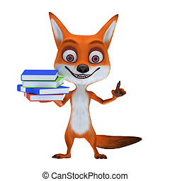 red fox with pose with book