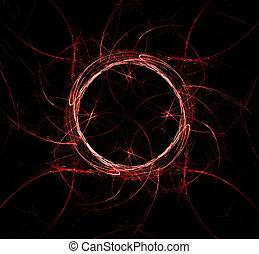 Red fractal abstaction on a black background.