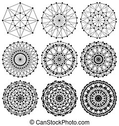 red, fractal, adn, molécula, ...