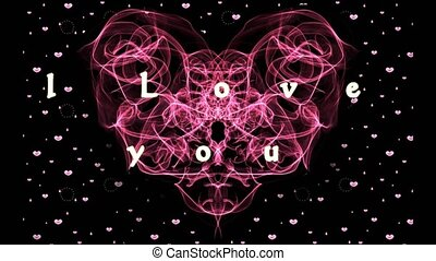 red fractal heart with I love you inscription. Particle...