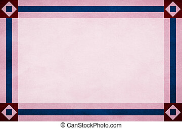 Red frame around a pink textured parchment background. Blue textured ribbon border trim. Square in diamond design corners.