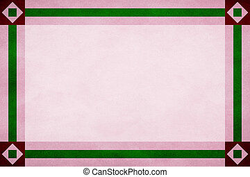 Red frame around a pink textured parchment background. Green textured ribbon border trim. Square in diamond design corners.