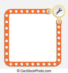 red frame for any text with screws and spanner