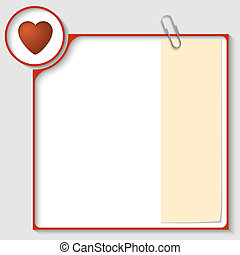 red frame for text with a heart and notepaper