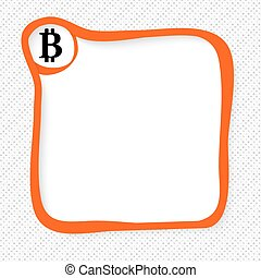 Red frame for your text and bit coin symbol