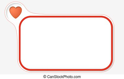 Red frame for your text and heart symbol