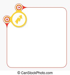 Red frame for your text and yellow circle with flash symbol