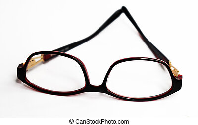 Red frame glasses isolated on white background
