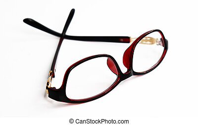 Red frame glasses isolated on white background. Stylish Eye Glasses