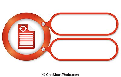 red frames and document icon and arrow