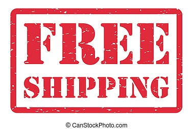 red free shipping stamp on a white background