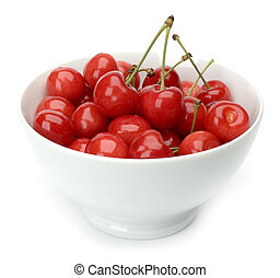 red fresh cherry in white bowl close up