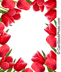Red fresh spring flowers background. Vector illustration.