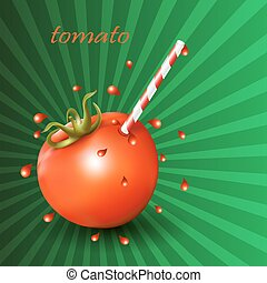 Red fresh tomato with straw on green background.
