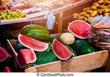 Red fresh watermelons