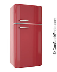 Red fridge - Red refrigerator. 3D render.