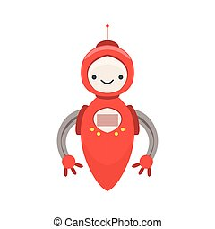 Red Friendly Android Robot Character Without Legs Vector Cartoon Illustration. Futuristic Bionic Person Portrait In Childish Manner, Part Of Fantasy Droids Collection.