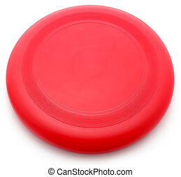 Red Frisbee isolated over white background