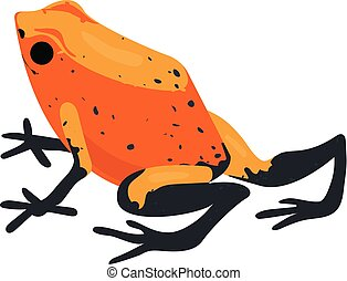 Red frog icon, cartoon style