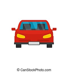 Red front car icon, flat style