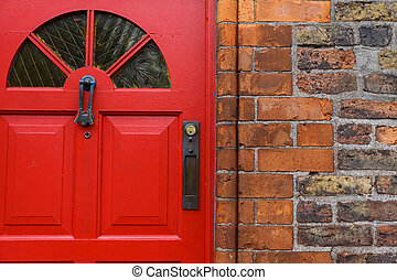 Red front door - Detailed photo of a red front door and...