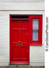 Red front door - the picture was taken in London.