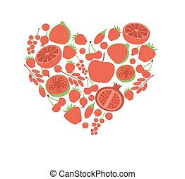 Red fruit berry heart love. Vegan vegetarian diet menu eco natural food. Pomegranate cranberry barberry guava vector icon set