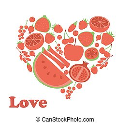 Red fruit berry heart love. Vegan vegetarian diet menu eco natural food. Pomegranate cranberry barberry rhubarb guava vector icon set