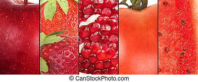Red fruit collage