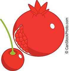 Red fruit icon, isometric style
