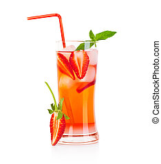 Red fruity cocktail - Cold strawberry drink isolated over...