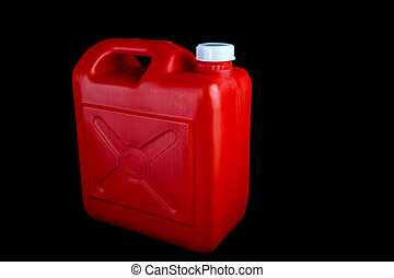 Red Fuel Container on a Black Background