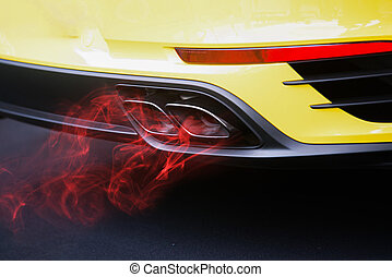 Red fuel gas pollution car exhaust pipe