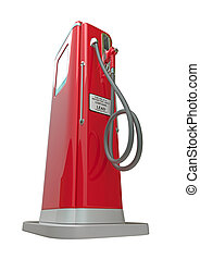 Red fuel pump isolated over white background