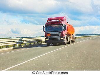 fuel truck transports fuel