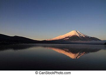 Red Fuji (Mt. Fuji in red) from Yamanaka lake