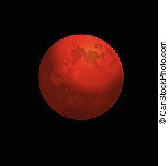Red full moon vector logo