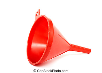Red funnel - Plastic funnel on a white background....