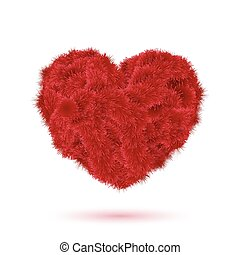 Red fur heart for Your Valentine design.