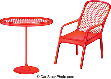 Red furnitures - Illustration of the red furnitures on a...