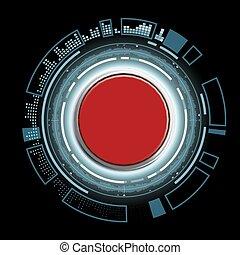 Red futuristic button
