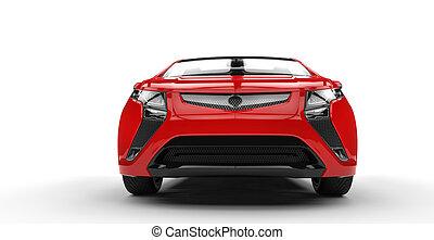 Red Futuristic Car Front Closeup