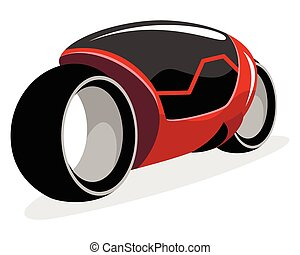 Red futuristic motorcycle