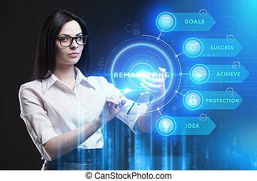 red, futuro, pantalla, ve, remarketing, tecnología, virtual,...