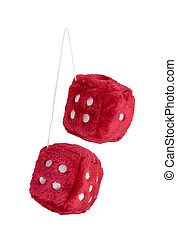 Red Fuzzy Dice - Red fuzzy dice with white dots that are...