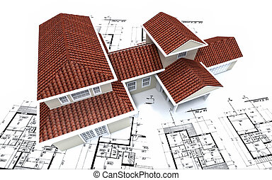 Model of a house on top of blueprints and architect tools stock