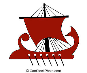 red galley on white background
